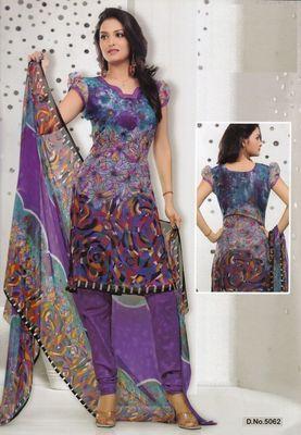Dress Material Elegant French Crepe Printed Unstitched Salwar Kameez Suit D.No 5062