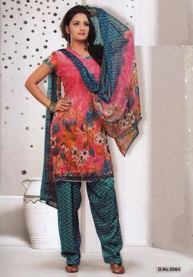 Dress Material Elegant French Crepe Printed Unstitched Salwar Kameez Suit D.No 5064
