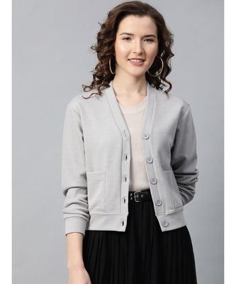 Grey Front Button Cardigan