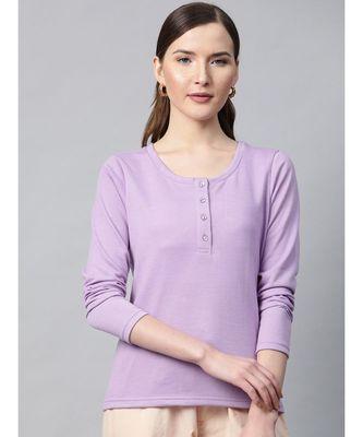 Purple Henley Full Sleeve T-shirt