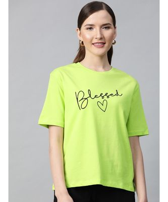 Neon Green Blessed-Print T-shirt