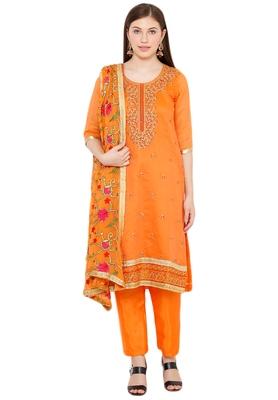 Salwar Studio Women's Orange & Pink Embroidered Unstitch Dress Material with Dupatta