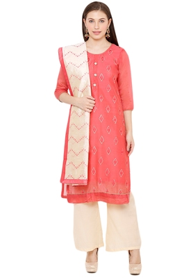 Salwar Studio Women's Coral Red & Beige Embroidered Unstitch Dress Material with Dupatta