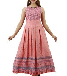 Pink printed viscose rayon long-dresses
