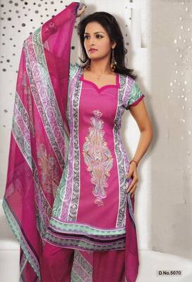 Dress Material Elegant French Crepe Printed Unstitched Salwar Kameez Suit D.No 5070