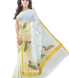 Buy cream woven cotton saree with blouse south-indian-saree online
