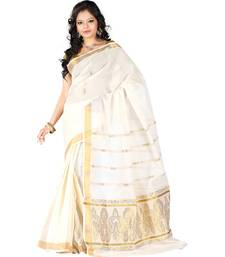 cream woven cotton saree with blouse women-ethnic-wear