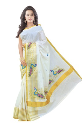 cream woven cotton saree with blouse
