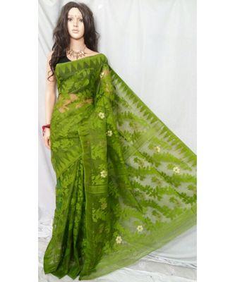 Pasta Weaving Work Cotton Silk Jamdani Handloom Saree With Out B.P