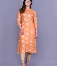 Light-peach printed rayon kurtas-and-kurtis