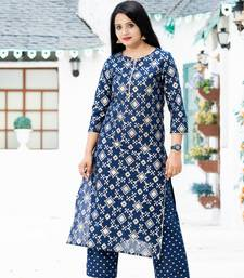 ADDICTION NAVY GOLD PRINTED COTTON STRAIGHT KURTA AND PANT