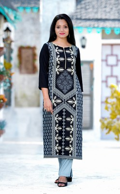 ADDICTION BLACK RAYON PRINTED STRAIGHT KURTA PAIRED WITH GREY COTTON SOLID PANT