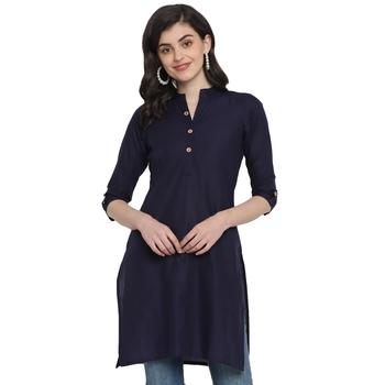 Navy blue plain cotton short-kurtis