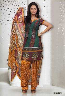 Dress Material Elegant French Crepe Printed Unstitched Salwar Kameez Suit D.No 5072