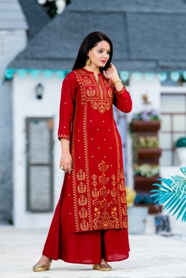 ADDICTION RED GOLD GLITTER PRINTED RAYON KURTI PAIRED WITH PRINTED FLARED PALAZZO