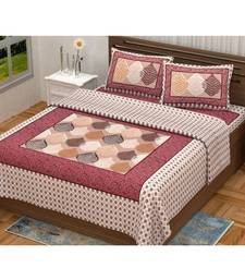 Pink City Fabrics Unique Design Pure Cotton Printed Double Bed Sized Bedsheet With 2 Pillow Cover (90x100 Inch)