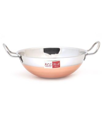 KCL Stainless Steel Copper Bottom Kadai Patti (Without Lid) Cookware - 1 Unit - Capacity 2500 ML