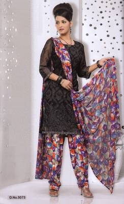 Dress Material Elegant French Crepe Printed Unstitched Salwar Kameez Suit D.No 5073