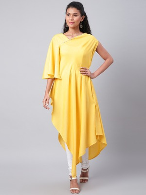 Yellow plain cotton ethnic-kurtis