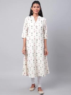 Cream printed cotton ethnic-kurtis