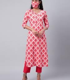 Pink printed viscose ethnic-kurtis