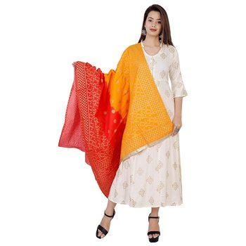 Women's Off White  Gold Printed Kurti with Red Orange Printed Duptta || Party Wear