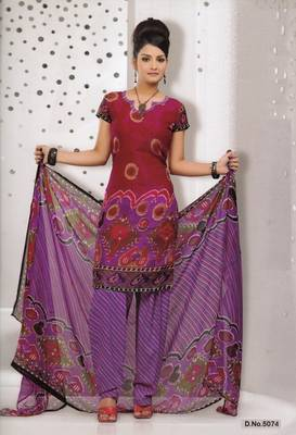 Dress Material Elegant French Crepe Printed Unstitched Salwar Kameez Suit D.No 5074