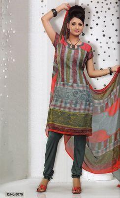 Dress Material Elegant French Crepe Printed Unstitched Salwar Kameez Suit D.No 5075