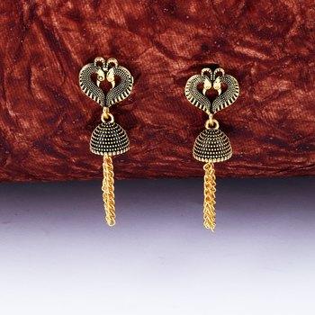 Beautiful Peacock Heart Shape Tassel Dangler Earrings for Women