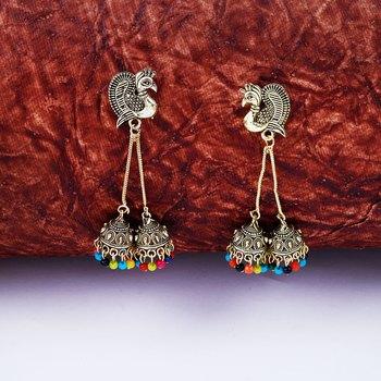Attractive Golden Peacock Tassel Jhumki Earrings for Women