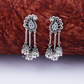 Dazzling Silver Peacock Tassel Jhumki Earrings for Women