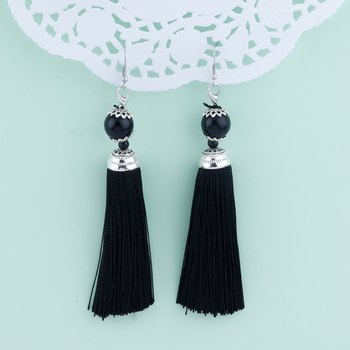 Graceful Black Long Thread Tassel Earrings for Women