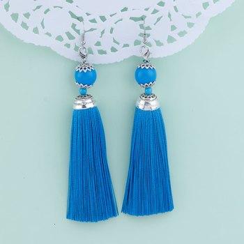 Trendy Blue Long Thread Tassel Earrings for Women