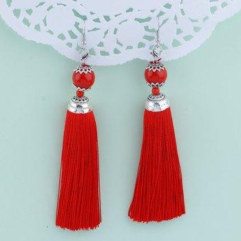 Stunning Red Long Thread Tassel Earrings for Women