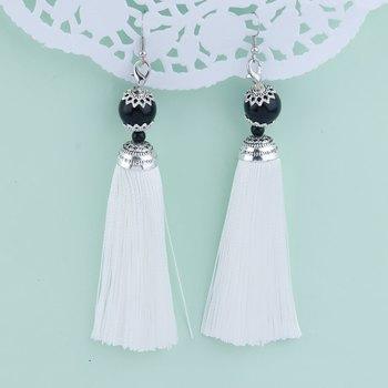 Spunky White Long Thread Tassel Earrings for Women