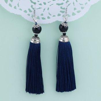 Facinating Blue Long Thread Tassel Earrings for Women