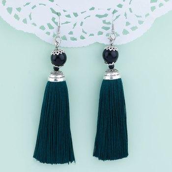 Shimmering Green Long Thread Tassel Earrings for Women