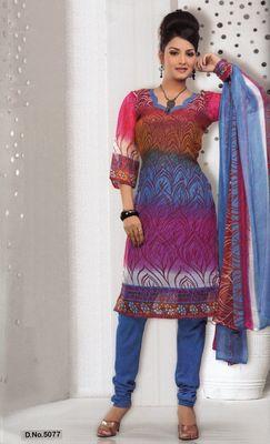 Dress Material Elegant French Crepe Printed Unstitched Salwar Kameez Suit D.No 5077