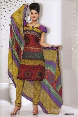 Dress Material Elegant French Crepe Printed Unstitched Salwar Kameez Suit D.No 5078