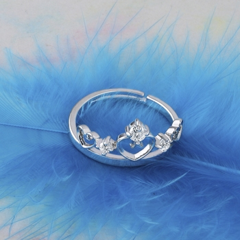 Silver Plated Stylish Solitaire Adjustable Ring For women Girls
