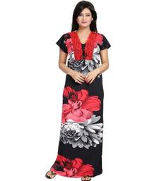 DILJEET Floral Print Satin Night Gown-Red