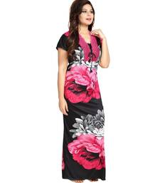 DILJEET Floral Print Satin Night Gown-Pink