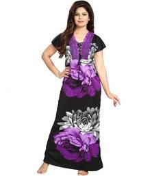 DILJEET Floral Print Satin Night Gown-Purple