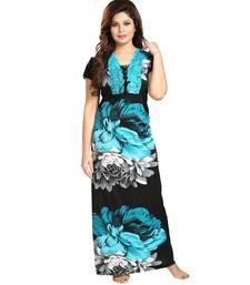 DILJEET Floral Print Satin Night Gown-Green