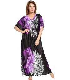 DILJEET Floral Print Satin Kaftan-Purple