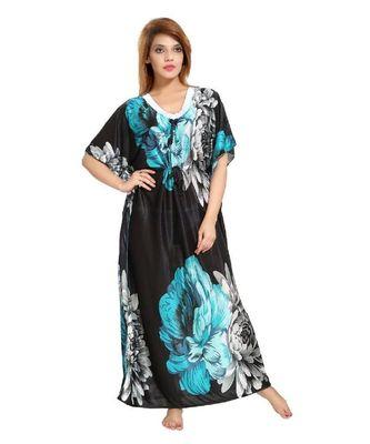 DILJEET Floral Print Satin Kaftan-Green