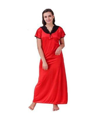 DILJEET Self-Design Print Satin Night Gown-Red
