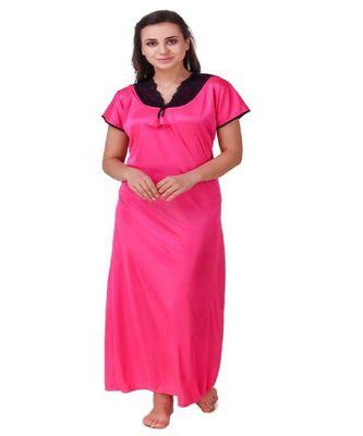 DILJEET Self-Design Print Satin Night Gown-Rani