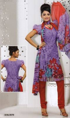 Dress Material Elegant French Crepe Printed Unstitched Salwar Kameez Suit D.No 5079