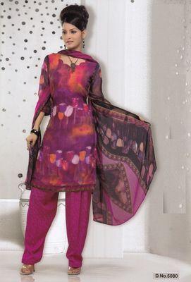 Dress Material Elegant French Crepe Printed Unstitched Salwar Kameez Suit D.No 5080